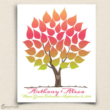 Wedding Guest Book Alternative - Ombre Rainbow Guest Book Tree - Vivawik - Peachwik Interactive Art Print - 40 guests - Ombre Wedding Tree