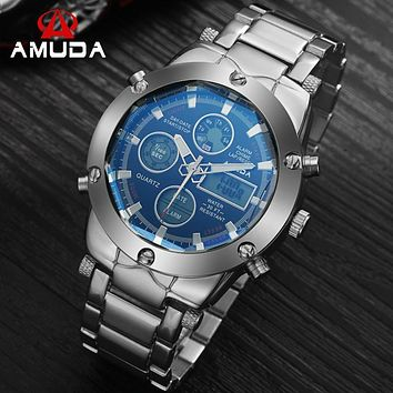 Watches Men Luxury Brand AMUDA Sports Military Watches Dual Time Quartz Analog Digital LED Steel Strap Wristwatches