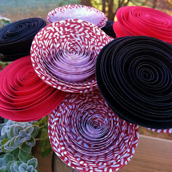12 Paper Flowers in Red, Black and White - Handmade Paper Flowers for Brides, Weddings, Showers, Birthdays