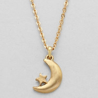 Crescent Moon & Star Tiny Dainty Pendant Necklace - Gold