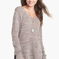 BP. Side Slit Marled V-Neck Sweater (Juniors) | Nordstrom