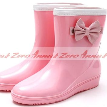 Fashion Womens Bow Ankle Rain Boots Gardon Short Boots Shoes Rubber Rainboots