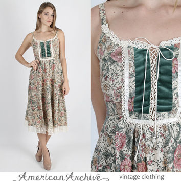 Gunne Sax Dress Hippie Dress Boho Dress Bohemian Wedding Dress 70s Dress 1970s Dress Hippie Cream Floral Velvet Corset Midi Mini S