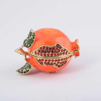 Pomegranate Faberge Style Trinket Box Decorated with Red Swarovski Crystals Handmade by Keren Kopal