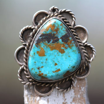 Sterling Silver,Turquoise,Ring, Mexican Silver,Boho Rings,Gypsy, Vintage Jewelry, Eagle Stamp, Fashion