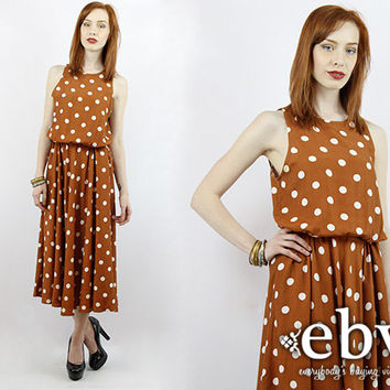 Vintage 90s Brown and White Polka Dot Midi Dress M L Pinup Dress Polka Dot Dress Vintage Sundress Summer Dress Pretty Woman Dress
