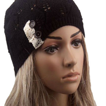 Black Buttons And Lace Hollow Out Knitted Beanie