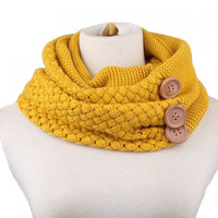 Chic Big Buttons Embellished Knitted Neck Warmer