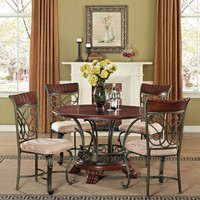 A.M.B. Furniture & Design :: Dining room furniture :: Small Dinette Sets :: Cherry finish sets :: 5 pc Omari collection patterned fabric upholstered chairs and cherry finish wood pedestal dining table set