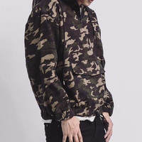 Camo Hoodie Large Front Pocket and Cuffed Arms Waist