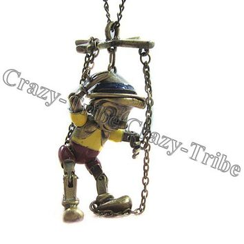 Gorgeous Vintage Art Deco Pinnochio Puppet Disney Pendant Necklace free shipping