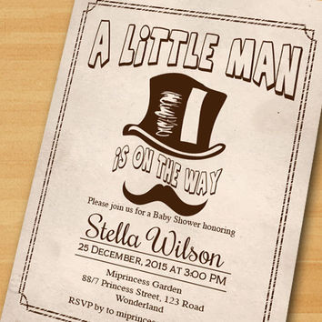 A Little Man Baby Shower Invitation, Top Hat Mustache baby boy shower ,baby boy invitation  - card 357