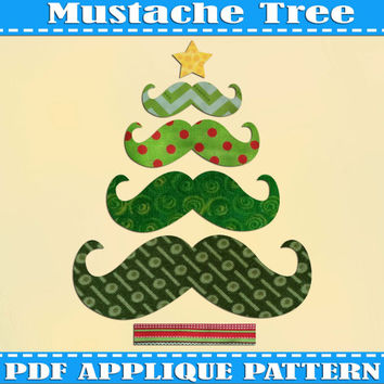 Mustache  Xmas Trees Presents Applique Pattern Template Xmas  PDF Download Instant Fabric Shirt Design Print  Nursery Wall DIY Baby Quilt