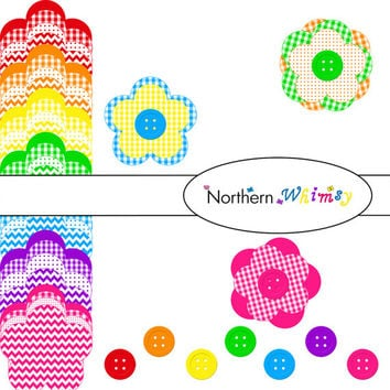 Digital Clip Art Cut Out Set – rainbow clip art flower and button shapes in polka dot  , gingham , and chevron patterns INSTANT DOWNLOAD