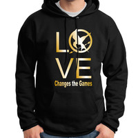 Hunger Games - LOVE Changes the Games - Hoodie in Black w Metallic Gold