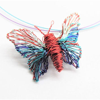 Red butterfly necklace, cute, turquoise red art necklace, wire sculpted pendant, contemporary modern colorful jewelry, Summer gift for women