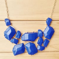 Deep Blue Statement Necklace,Atactic Gem Stack Necklace,Cute Bright Spring Summer Gift Necklace for Women