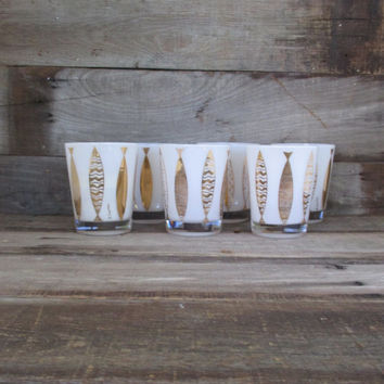 Set of 6 Signed Fred Press White and Gold Fish Lowball Glasses Mid Century Cocktail Glasses Vintage Barware Nautical Wedding Gift