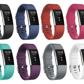 Silicone Wristband Bracelet Strap with Schnalle for Fitbit Charge 2