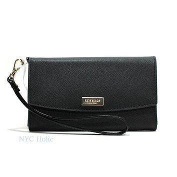 Kate Spade Newbury Lane phone Wallet, Saffiano, Leather, Wristlet, Black Clutch