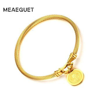 Meaeguet Gold-color Saint Benedict Medal Cuff Charm Bracelets & Bangle For Women Stainless Steel Wire Pulseira Jewelry