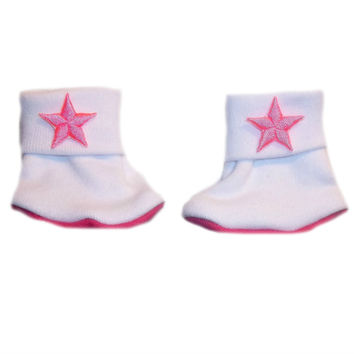 Baby Girls' Neon Pink Stars Booties