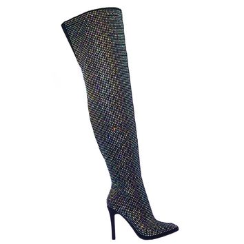 Pledge28 Fur Lined Over The Knee OTK Thigh High Rhinestone Embellish Dress Boot