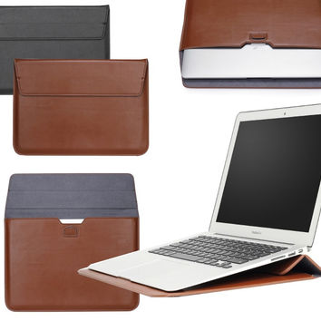 High Quality PU Leather Case Laptop Sleeve Carry Bag Pouch for apple MacBook Air 11 11.6 13 for MAC Pro Retina 12 13.3 15 inch