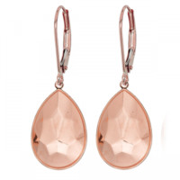 Earring Setting 14mm Rose Gold Plated for Swarovski Pear 4320
