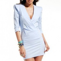 3/4 Sleeve V Neck Dress in Periwinkle by ShopAKIRA | Back Zipper Dress | ShopAKIRA.com