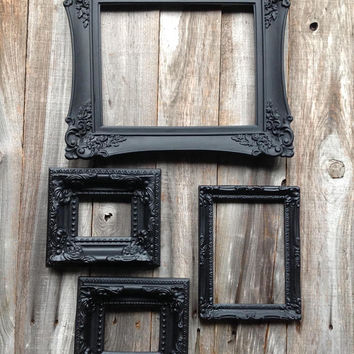 Black gothic Victorian ornate frames set of 4/ gothic decor/ gothic wedding decor / wall decor/ black frames