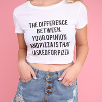 Opinion or Pizza White Graphic Crop Top