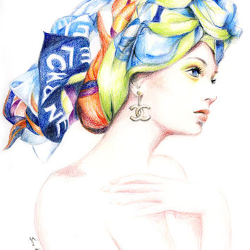 Colored pencil drawing- Chanel Scarf Fashion Illustration