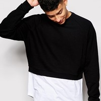 ASOS Cropped Sweatshirt With Mock T-Shirt Hem
