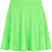 River Island Womens Bright green textured skater skirt