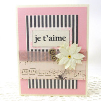 I Love You Card - Je T'Aime Card - Romantic Card - Ivory and Pink - Blank Card - French Card - Valentine Card - Pink and Grey Card