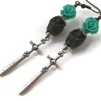Black Skull Earrings - Skull and Flower - Day of the Dead Jewelry - Horror Jewelry - Gothic Jewelry - Halloween Jewelry - Skull Earrings