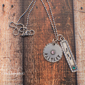 Silver Pewter Personalized Hand Stamped Necklace with Names and Birthstones