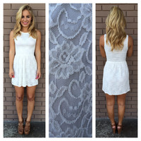 Ivory Sara Sleeveless Lace Dress