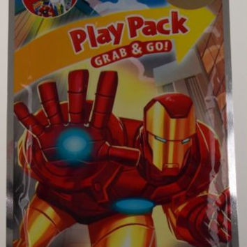 Lot 8 Marvel Iron Man Play Pack Grab & Go Coloring Book Crayons Stickers Favor
