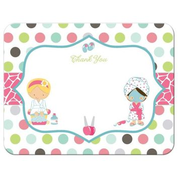 Thank You Flat Card - Spa Sleepover Party with Polka Dots