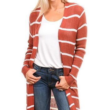 Rust Striped Long Cardigan
