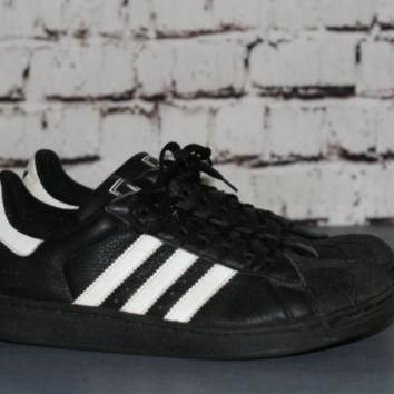 90s Adidas sneakers three strip classic trainers shell toe black white shoes / Grunge