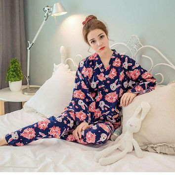 CREYCI7 Japanese Cherry Cute Rabbit Pajamas Set Kimono Suit Tracksuit Cotton Gauze Bathrobe Top Pants Women Sleepwear