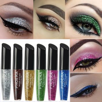 Shining Glitter Eyes Make Up Liner For Women Easy To Wear Waterproof Long Lasting Pigmented Liquid Eyeliner Makeup Cosmetics