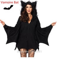 Black Evil Vampire Bat Costume Women Halloween Costumes Plays Vampire Devil Costume New Arrival !