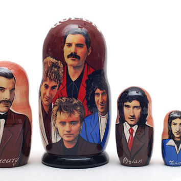 Freddie Mercury Queen Nesting Dolls 5pc matryoshka doll  free shipping