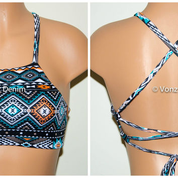 Aztec Tribal High Neck Halter Bikini Top, Criss Cross Adjustable Swimwear Bikini Top, 4Th Of July Bathing Suit, Festival Top