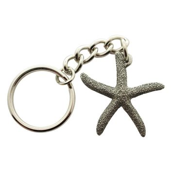 Sugar Star Starfish Keychain ~ Antiqued Pewter ~ Keychain
