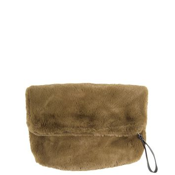 Fold Over Faux Fur Clutch in Olive and Black